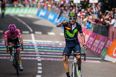 Andalo, Italy May 24, 2016; Alejandro Valverde wins his first stage in career in the Tour of Italy Royalty Free Stock Photo