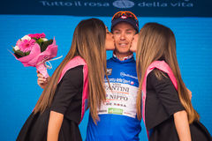 Andalo, Italy May 24, 2016; Damiano Cunego  in Blu  jersey on the podium. Royalty Free Stock Photos