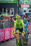 Andalo, Italy May 24, 2016; Davide Formolo, professional cyclist, passes the finish line of the stage Stock Images