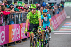 Andalo, Italy May 24, 2016; Davide Formolo, professional cyclist, passes the finish line of the stage Royalty Free Stock Photos