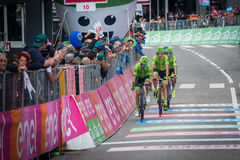 Andalo, Italy May 24, 2016; Davide Formolo, professional cyclist, passes the finish line of the stage Royalty Free Stock Images