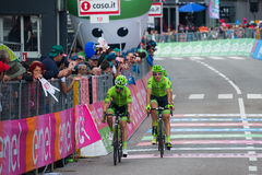 Andalo, Italy May 24, 2016; Davide Formolo, professional cyclist, passes the finish line of the stage Stock Photo