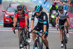 Andalo, Italy May 24, 2016; A group of professional cyclists passes the finish line of the stage. Royalty Free Stock Image