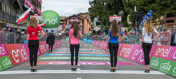 Andalo, Italy May 24, 2016; Parade of the Miss with the jerseys of the Tour of Italy in 2016. stock photo