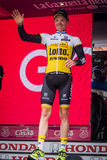 Andalo, Italy May 24, 2016; Steven Kruijswijk on the podium is the leader of the General Classification Royalty Free Stock Photo