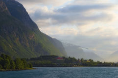 andalsnes挪威日落 库存图片