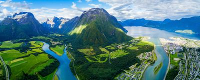 Andalsnes town in Norway. Andalsnes aerial panoramic view, Andalsnes is a town in Rauma Municipality in Norway stock photos