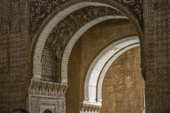 Andalucia, Geanada, Alhambra. Columns and arch decorated Royalty Free Stock Photography