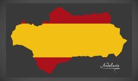 Andalucia map with Spanish national flag illustration Stock Photography