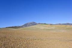 Andalucian che coltiva paesaggio con il suolo e la montagna dell'aratro Immagine Stock
