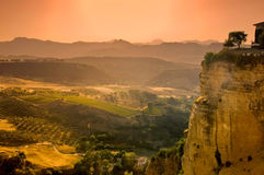 Andalucian countryside. Sunset on the countryside in Andalucia (Spain). View from the old bridge in Ronda royalty free stock photography