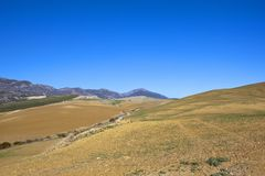 Andalucian farmland and mountains under a blue sky. A white winding road with olive groves plowed soil and mountains in scenic andalucia spain under a clear blue Stock Image