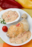andalusa鸡肉被炖的辣调味汁调味汁 免版税库存图片