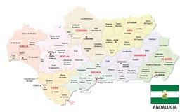 Andalusia administracyjna i polityczna wektorowa mapa z flaga Obraz Stock