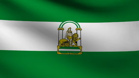 Andalusia flag. Animation of Andalusia flag at wind stock footage