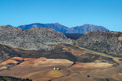 Andalusia landscape. Mountain and the fields, from a bird-view stock photography