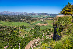 Andalusia landscape, countryside road and rock in Ronda, Spain Stock Photos