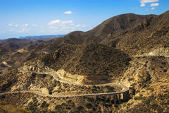 Andalusia, landscape. Road in Cabo de Gata Park, Almeria. Spain Royalty Free Stock Photos