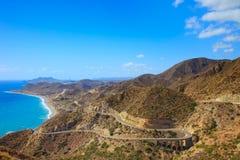 Andalusia landschap. Parque Cabo DE Gata, Almeria. Stock Afbeelding