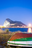 Andalusia,Rock of Gibraltar seen from La Linea at twilight Royalty Free Stock Photo
