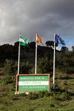 Andalusia slogan and flags, Spain. Andalusia slogan and flags in southern Spain Royalty Free Stock Photo
