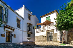 Andalusian backyard. Architecture photo: backyard with fountain in the old Arabian district Albaicin in Grenada Andalusia, Spain royalty free stock photography