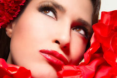 Andalusian Beauty Girl. Beauty portrait macro of a young andalusian woman Royalty Free Stock Photos