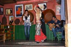 Andalusian flickor dansar och sjunger flamenco, den typiska traditionella musiken av sydliga Spanien, Seville, 04/15/2017 Royaltyfria Bilder
