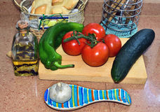 Andalusian food. Still life with ingredients to make Andalusian gazpacho Royalty Free Stock Photo
