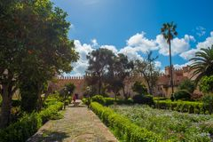 Andalusian gardens in Udayas kasbah Rabat Morocco North Africa Stock Image