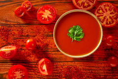 Andalusian gazpacho tomato sauce in red Stock Photography