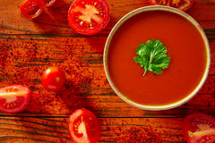 Andalusian gazpacho tomato sauce in red Royalty Free Stock Image