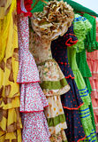 Andalusian gipsy dresses in a row at Spain Stock Images