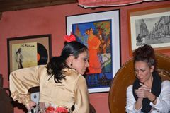 Andalusian girls dance and sing flamenco, the typical traditional music of southern Spain. Dancing and singing Flamenco in a bar in Sevilla, in Betis street stock photography