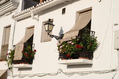 Andalusian old town balconies Stock Photo