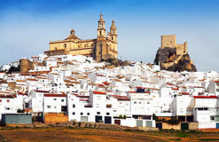 Andalusian town with church and  castle. Olvera, Spain Stock Images