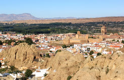 Andalusian town Guadix between mountains in Spain Royalty Free Stock Photos