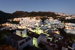 Andalusian village Casares at dusk Stock Images