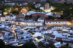 Andalusian village Mijas Pueblo. White Andalusian village Mijas Pueblo at dusk. Costa del Sol, Spain Royalty Free Stock Photo