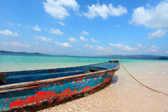 Andaman Islands of India. A rowing boat docked at the beach at Andaman Islands, India Stock Photos