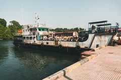 Andaman and Nicobar Islands. India. 25 January 2018. middle Andaman. Andaman and Nicobar Islands. India. Crowded with people river ferry waiting at the port Stock Photo