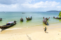 Andaman Sea beach Traditional Thai Longtail boat. Royalty Free Stock Photography