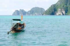 Andaman Sea and boat. Maya bay, Phi Phi Leh island,Thailand Stock Image