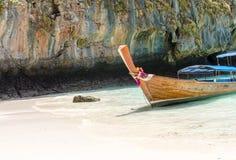 Andaman Sea and boat. Maya bay, Phi Phi Leh island,Thailand Royalty Free Stock Image