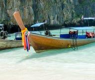 Andaman Sea and boat. Maya bay, Phi Phi Leh island,Thailand Stock Photo