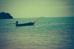 Andaman Sea and boat. Maya bay, Phi Phi Leh island,Thailand. Vintage photographs Stock Image