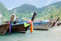 Andaman Sea and boat. Phi phi island Province, Thailand Southeast Asia Stock Image