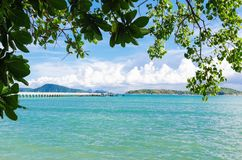 Andaman sea islands through tropical trees Stock Photos