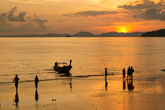 Andaman Sea krabi thailand. Andaman Sea, Thailand,Tropical beach, long tail boats, Thailand,Long tail boats on beach,Andaman Sea,krabi,thailand,sunset,island Royalty Free Stock Images