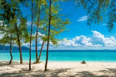 Andaman Sea, Poda Island. On the horizon are visible mountains Royalty Free Stock Photos